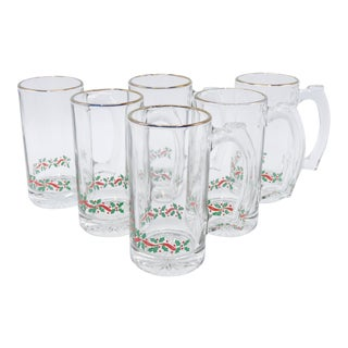 Christmas Beer Steins - Set of 6 For Sale