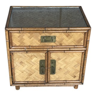 Vintage Boho Chic Bamboo and Woven Front Nightstand For Sale
