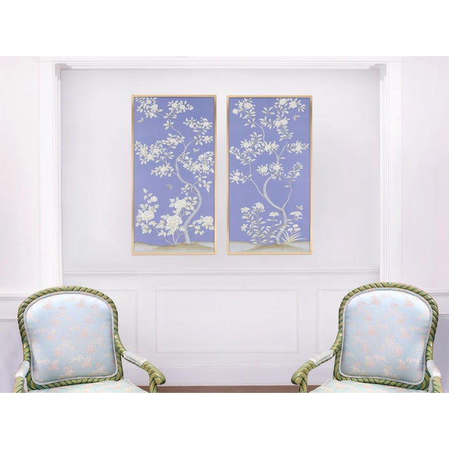 """Jardins en Fleur """"Inverness"""" Chinoiserie Hand-Painted Silk Diptych by Simon Paul Scott in Burnished Silver Frame - a Pair For Sale In Los Angeles - Image 6 of 8"""