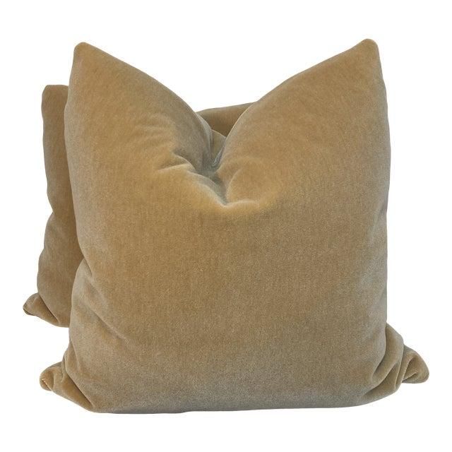 "Mohair Velvet in Wheat 22"" Pillows-A Pair For Sale"