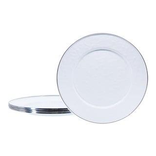 Dinner Plates White on White - Set of 4 For Sale