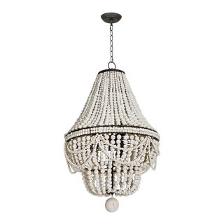 Malibu Chandelier in Weathered White For Sale