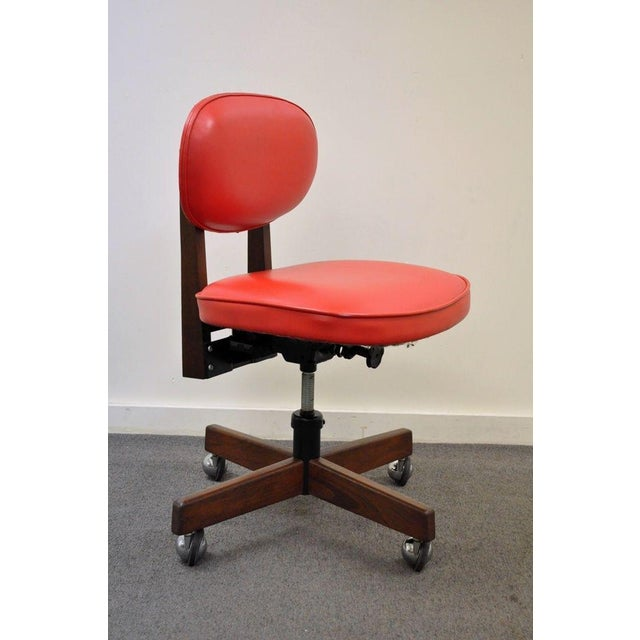 vintage mid century modern walnut red vinyl adjustable desk chair