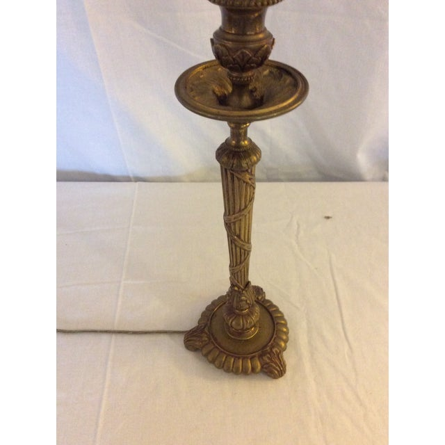 Classical Brass Candlestick Lamp For Sale - Image 4 of 8