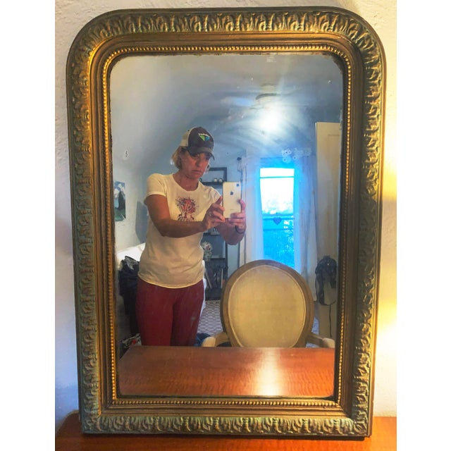 French 1880 Antique French Charles X Style Green and Gold Painted Wall Mirror For Sale - Image 3 of 4
