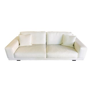 21st Century C&b Italia Gurian White Leather Italian Sofa For Sale