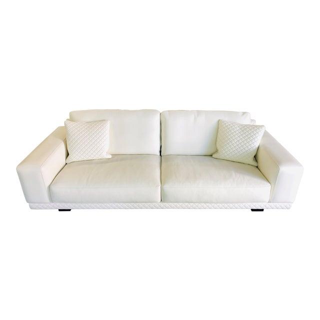 21st Century C&b Italia Gurian White Leather Italian Sofa For Sale