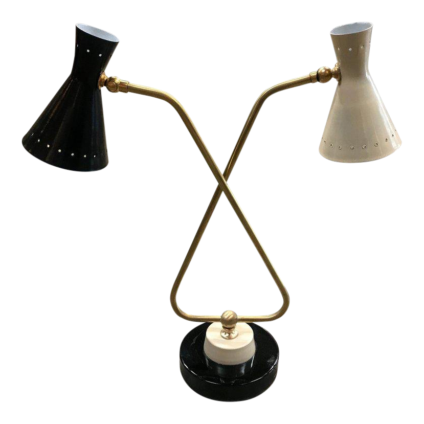 Sophisticated Mid Century Double Arms In Brass Table Lamp Italy