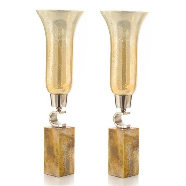 2010s John-Richard Fluted Caramel Glass Vase on Base - Set of 2 For Sale - Image 5 of 5