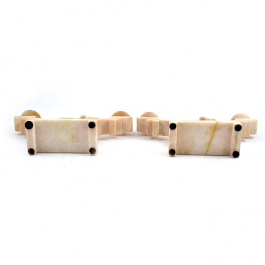 Gemstone 1920s Italian Art Deco Period Onyx Jumping Gazelle Candleholders - a Pair For Sale - Image 7 of 12