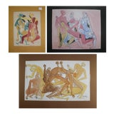 Image of Three Mixed Media Abstract Paintings in Watercolor and Ink For Sale