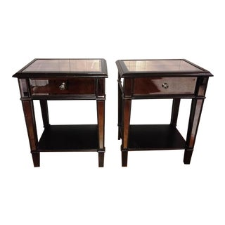 Black Beveled Mirrored Nightstands - a Pair For Sale