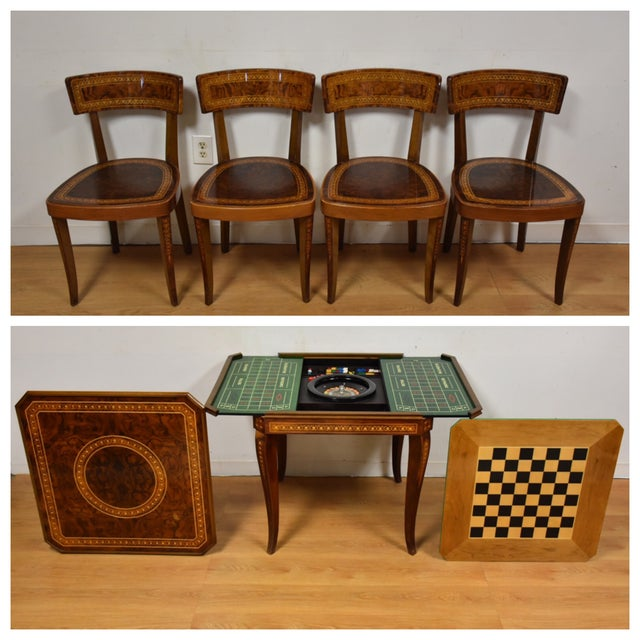 A 1970s matching game table and four chairs made in Italy. Wonderful inlay details and burl wood. Games that can be...