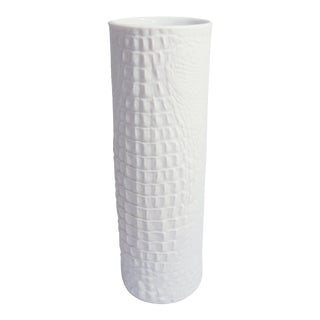 White Modernist Cylinder Bisque Vase with Crocodile Texture by A.K. Kaiser For Sale