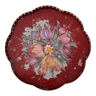 Antique Painted Floral Tole Tray
