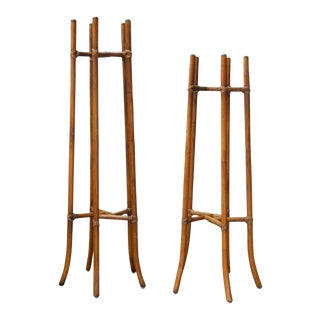 McGuire Mid-Century Bamboo Rattan Plant Stands - a Pair