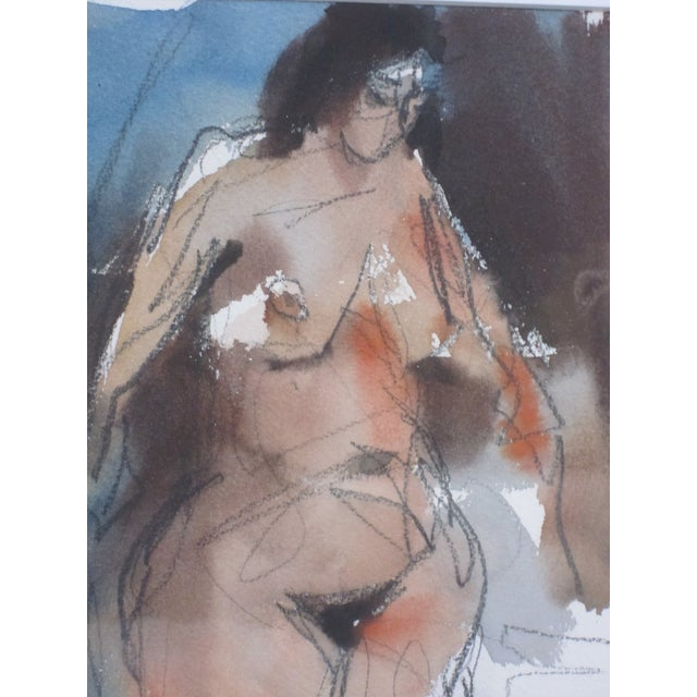1970s 1970s Vintage Jack Laycox Abstract Female Nude Watercolor Painting For Sale - Image 5 of 6