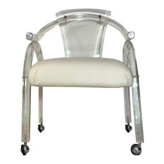 1970s Mid Century Modern Charles Hollis Jones Hollywood Regency Facet Lucite Arm Chair For Sale