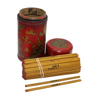 Asian Ancient Lottery Poetry - Fortune Telling Stick With Dragon & Phoenix Art (Large) For Sale