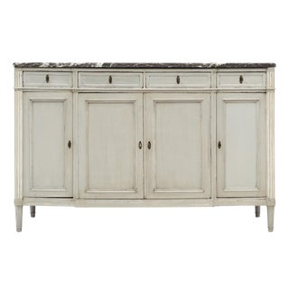 Painted Louis XVI Style Buffet With Marble Top For Sale