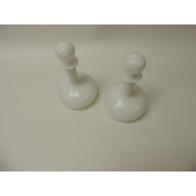 Pair of Vintage White Milk Glass Wine Decanters with Stoppers. Russian vintage decanters, hand-blown glass. Size: 6 D x 10 H