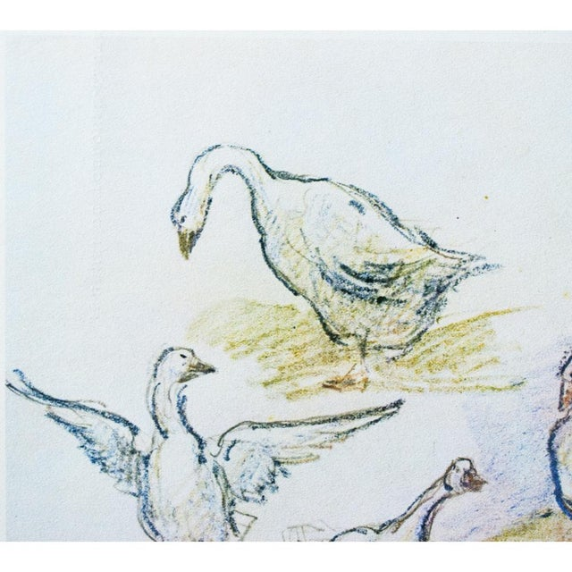 Cottage Style Hungarian Geese Lithograph by Alfred Sisley, 1959 For Sale In Dallas - Image 6 of 11