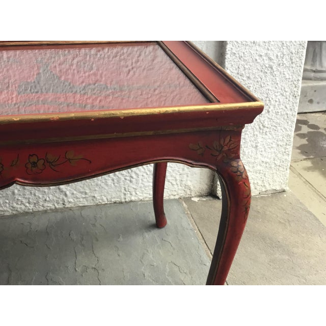 1950s Chinoiserie Red Hand Painted Coffee Table For Sale - Image 11 of 13