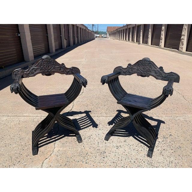 Wood Italian Walnut Savonarola Curule Chairs With Loin Motif- a Pair For Sale - Image 7 of 12