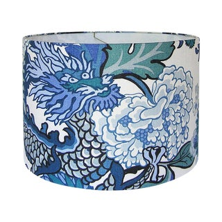 New, Made to Order, Chiang Mai Dragon Fabric in China Blue, Medium Drum Shade
