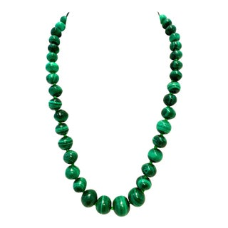 20th Century Polished Malachite Round Bead Necklace For Sale