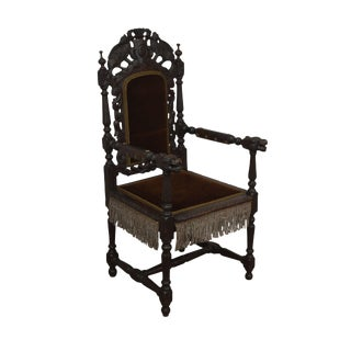 Antique Italian Renaissance Carved Throne Armchair For Sale