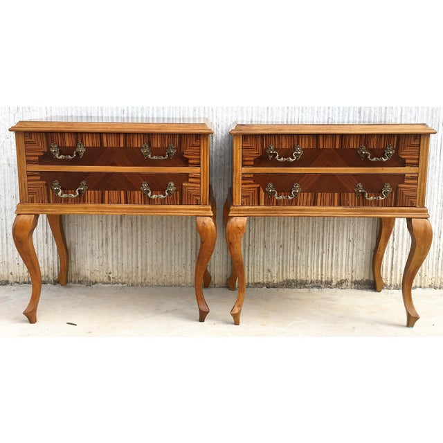 Italian 20th Century Pair of Mid-Century Modern Nightstands With Two Drawers, Italy For Sale - Image 3 of 10