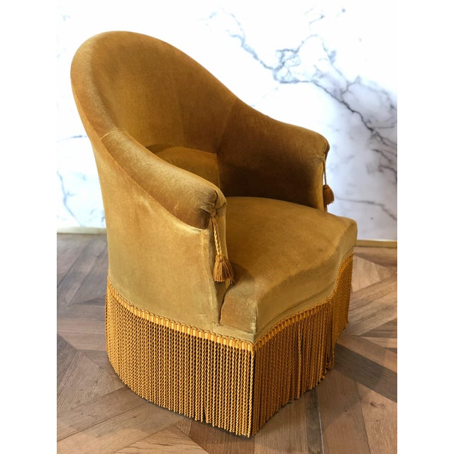 French Velvet Crapaud Chair For Sale - Image 3 of 9