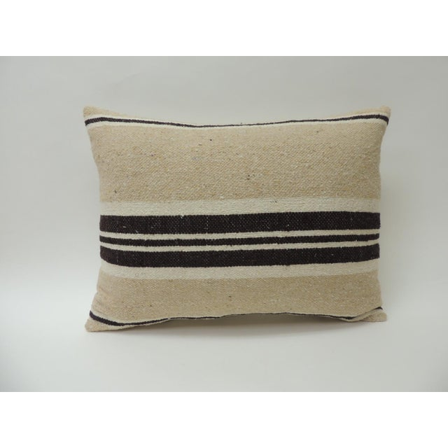 Vintage African Woven Tribal Artisanal Textile Decorative Bolster Pillow For Sale In Miami - Image 6 of 6