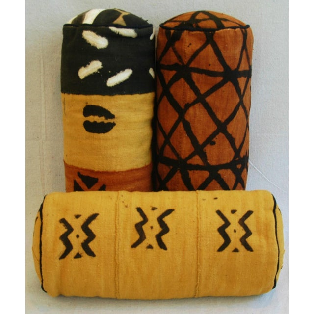 Tribal Mud-Cloth Bolster Accent Pillows - Set of 3 - Image 4 of 9