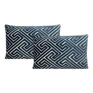 """12"""" X 18"""" Navy Blue Roman Cut Velvet Lumbar Pillows - a Pair For Sale"""