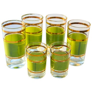 Gold-Banded Green Glasses- S/6 For Sale