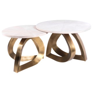 Set of 2 Teardrop Nesting Coffee Tables, Cream Shagreen and Brass by Kifu Paris For Sale