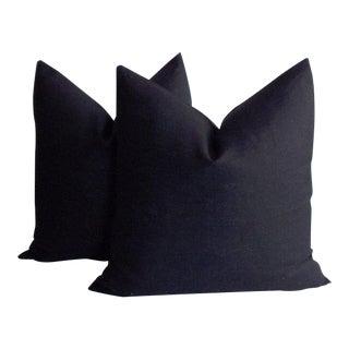 Black Linen Throw Pillow Cases - a Pair