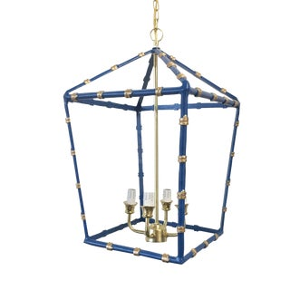 Large,Dana Gibson Navy Bamboo Lantern For Sale