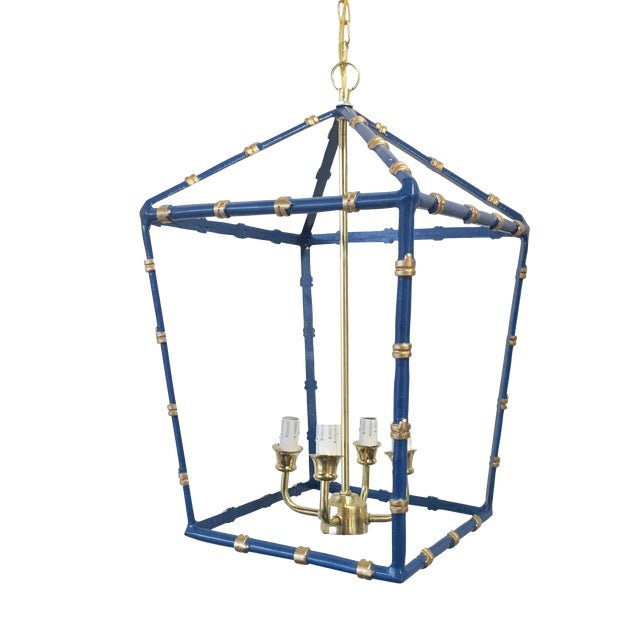 Large,Dana Gibson Navy Bamboo Lantern For Sale