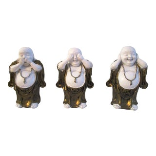 1980s See, Hear & Speak No Evil Jovial Buddha Figurines - Set of 3 For Sale