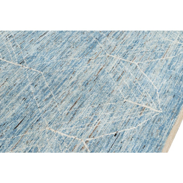 """Blue 21st Century Modern Moroccan-Style Rug, 7'0"""" X 10'0"""" For Sale - Image 8 of 11"""