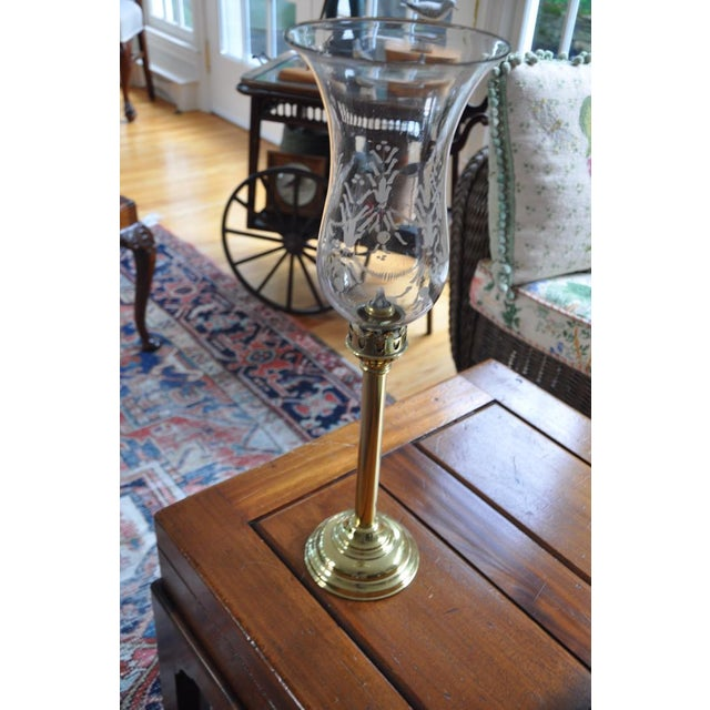19th Century Acid Etched Hurricane Shade on Brass Base For Sale In New York - Image 6 of 13