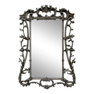 Antique Carved Wood Framed Wall Mirror For Sale