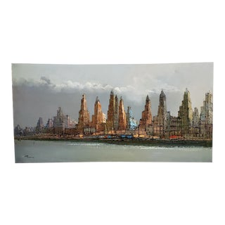 1970s Italian Cityscape Oil Painting by Perrini For Sale