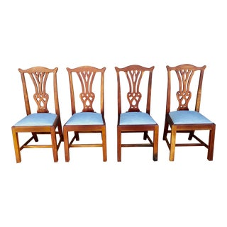 Antique Cherry Chippendale Chairs- Set of 4 For Sale
