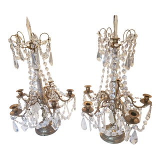 Late 19th Century Antique Brass and Crystal French Empire Style Candelabra - a Pair For Sale