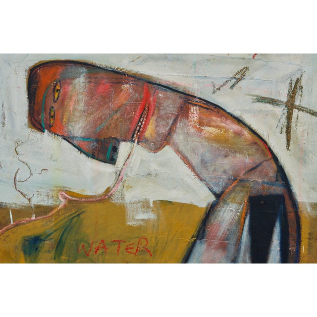 Large Oil on Canvas in the Style of Jean-Michel Basquiat For Sale - Image 4 of 8