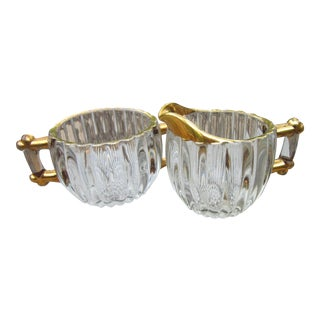 1940s Vintage Jeanette Glass Hollywood Regency Cream and Sugar Set- 2 Pieces For Sale
